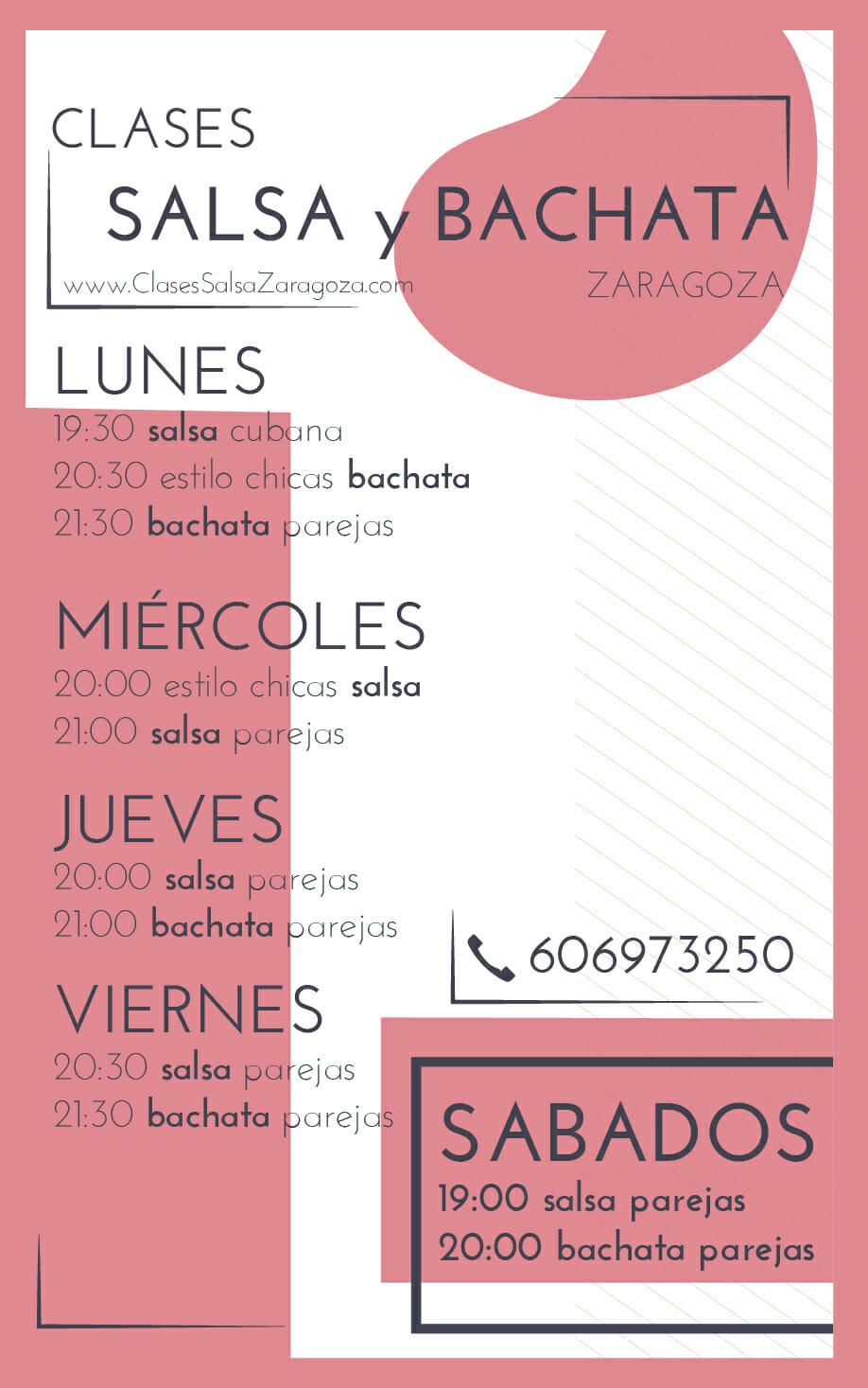 Horarios clases de Salsa y Bachata en Zaragoza